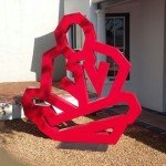 Contemplation 2. Mild steel sculpture 2.2 x 2.2 meters Anti rust red paint all weather