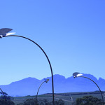 Sculptural installation in the landscape with metal wings and solar lights, clos Malvern, Stellenbosch, South Africa