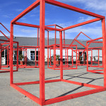 Sculptural installation of red cubes for the First Cape Town Art Fair, South Africa.