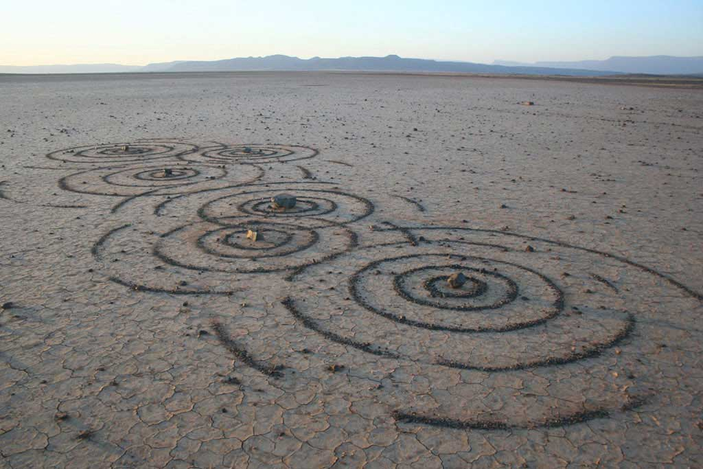 Black Sand Water Ripples in the Karoo, land art by South African artist Strijdom van der Merwe