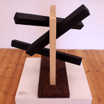 Wood sculpture of black lines