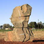 Sculpture installation. Sculpting a line to hold human time