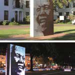 Nelson Mandela Memorial sculpture and garden in front of the town hall of Stellenbosch, South Africa.