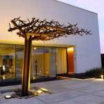 Sculptural tree made from mild steel. House Schijns, Belgium.