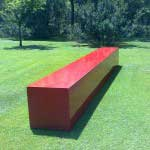 Red sculptural rectangle at the Nirox Sculpture Park, Johannesburg, South Africa.